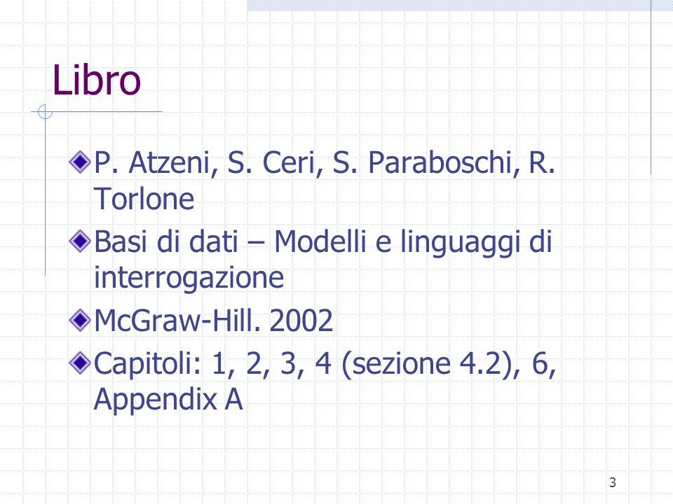3 Libro P. Atzeni, S. Ceri, S. Paraboschi, R. Torlone Basi di dati – Modelli e linguaggi di interrogazione McGraw-Hill. 2002 Capitoli: 1, 2, 3, 4 (sez