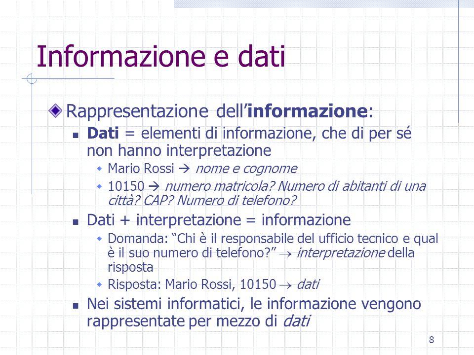 8 Informazione e dati Rappresentazione dell'informazione: Dati = elementi di informazione, che di per sé non hanno interpretazione  Mario Rossi  nom