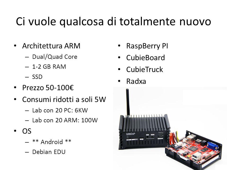 Ci vuole qualcosa di totalmente nuovo Architettura ARM – Dual/Quad Core – 1-2 GB RAM – SSD Prezzo 50-100€ Consumi ridotti a soli 5W – Lab con 20 PC: 6KW – Lab con 20 ARM: 100W OS – ** Android ** – Debian EDU RaspBerry PI CubieBoard CubieTruck Radxa