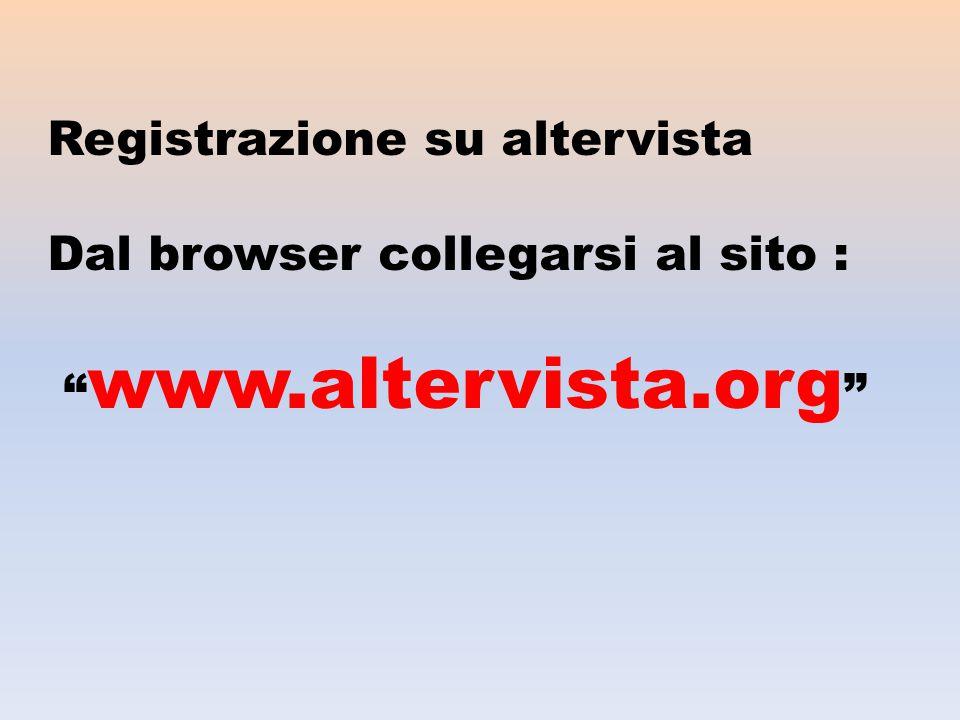 Registrazione su altervista Dal browser collegarsi al sito : www.altervista.org