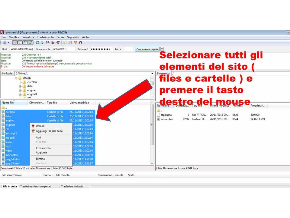Selezionare tutti gli elementi del sito ( files e cartelle ) e premere il tasto destro del mouse