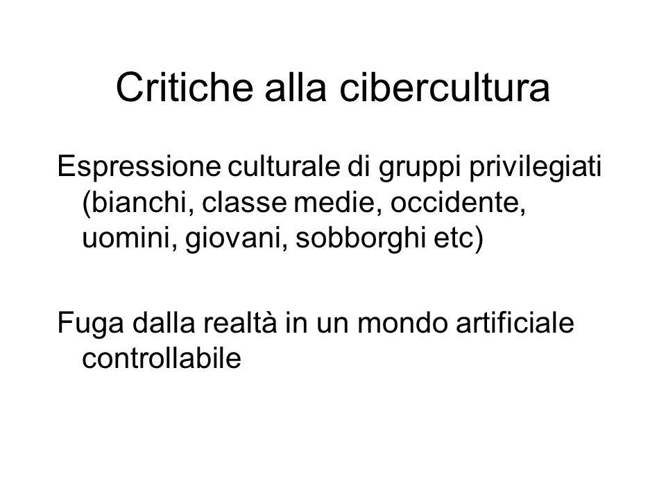 Critiche alla cibercultura Espressione culturale di gruppi privilegiati (bianchi, classe medie, occidente, uomini, giovani, sobborghi etc) Fuga dalla