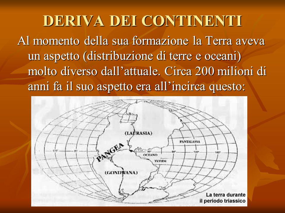DERIVA DEI CONTINENTI Al momento della sua formazione la Terra aveva un aspetto (distribuzione di terre e oceani) molto diverso dall'attuale. Circa 20