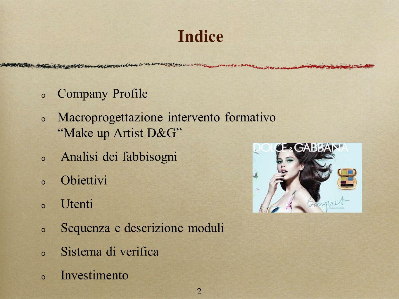 2 Indice Company Profile Macroprogettazione intervento formativo Make up Artist D&G Analisi dei fabbisogni Obiettivi Utenti Sequenza e descrizione moduli Sistema di verifica Investimento