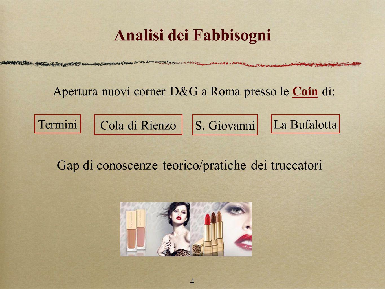 4 Analisi dei Fabbisogni Apertura nuovi corner D&G a Roma presso le Coin di: Termini Cola di Rienzo S.