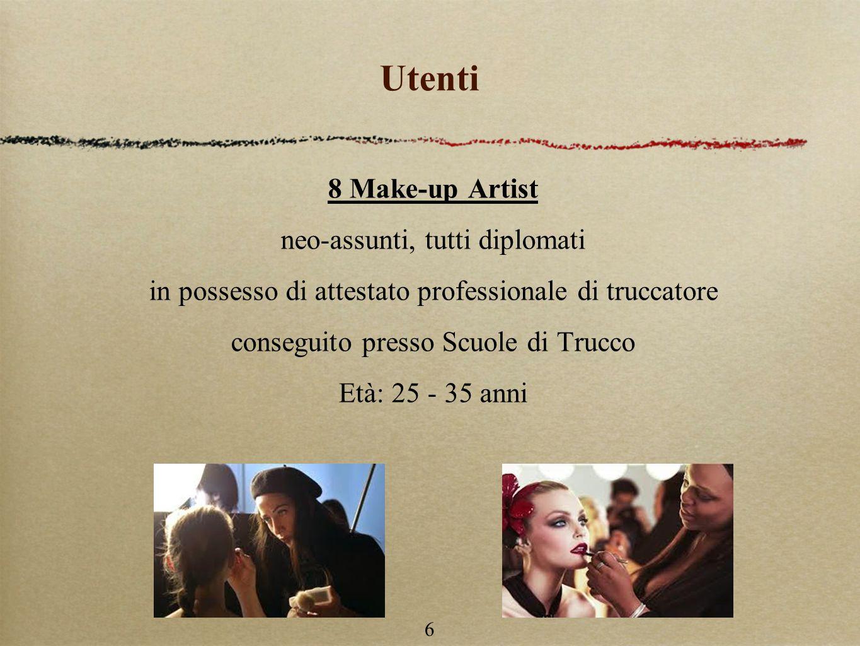 6 Utenti 8 Make-up Artist neo-assunti, tutti diplomati in possesso di attestato professionale di truccatore conseguito presso Scuole di Trucco Età: 25 - 35 anni