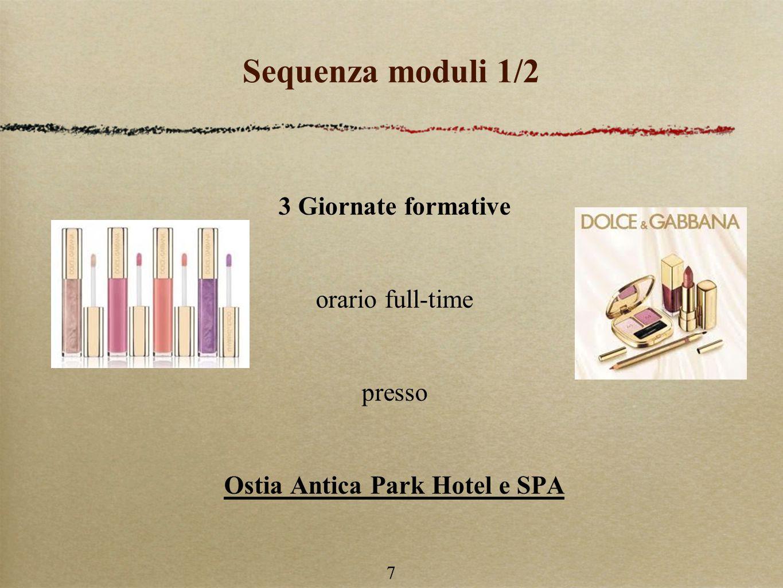7 Sequenza moduli 1/2 3 Giornate formative orario full-time presso Ostia Antica Park Hotel e SPA