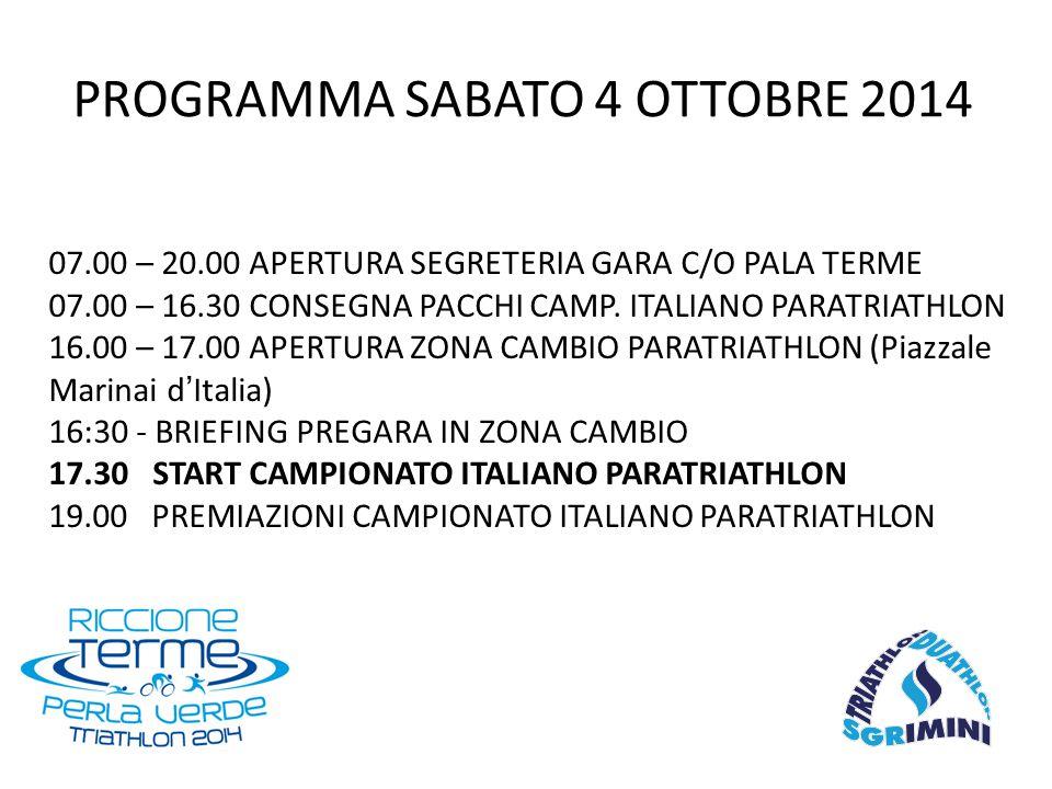 07.00 – 20.00 APERTURA SEGRETERIA GARA C/O PALA TERME 07.00 – 16.30 CONSEGNA PACCHI CAMP.