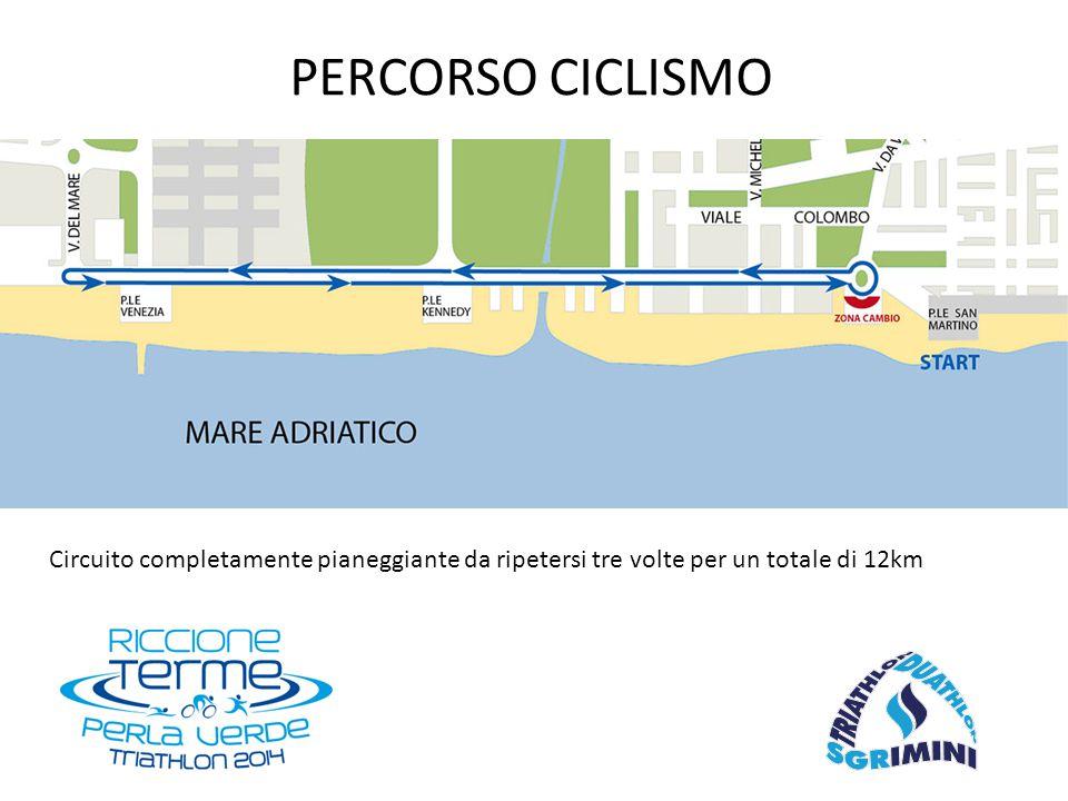 Circuito completamente pianeggiante da ripetersi tre volte per un totale di 12km PERCORSO CICLISMO