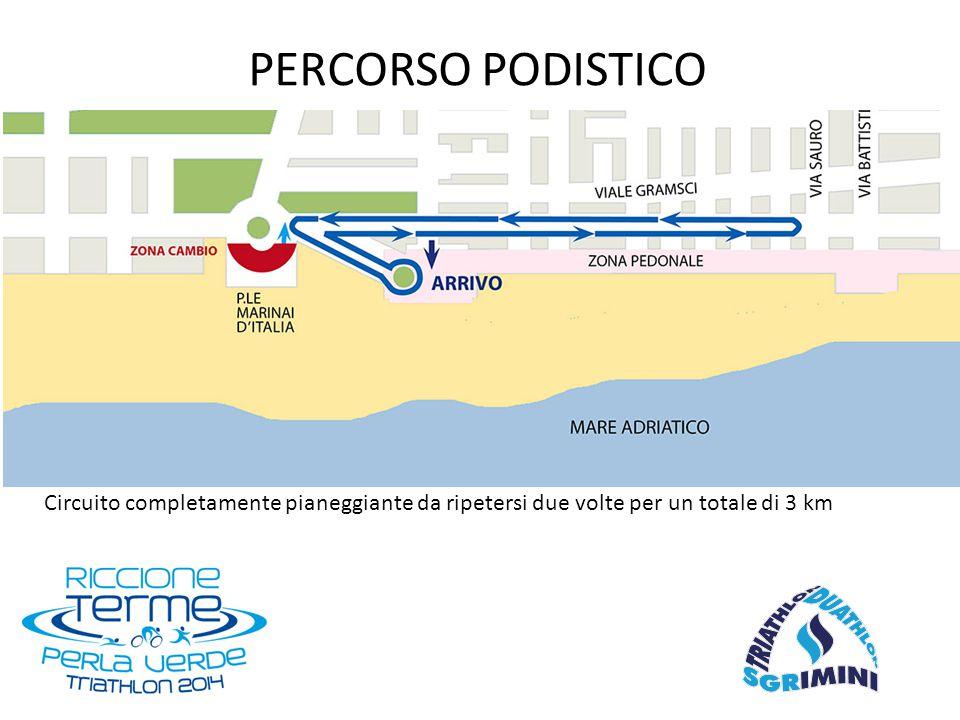 Circuito completamente pianeggiante da ripetersi due volte per un totale di 3 km PERCORSO PODISTICO