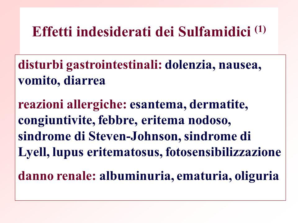 Effetti indesiderati dei Sulfamidici (1) disturbi gastrointestinali: dolenzia, nausea, vomito, diarrea reazioni allergiche: esantema, dermatite, congi