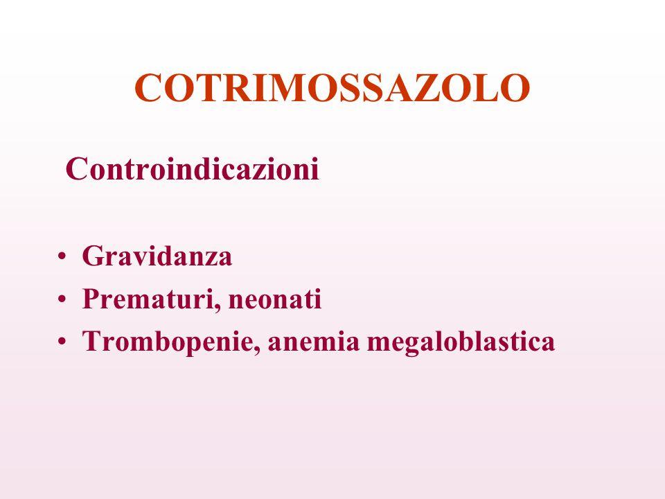 COTRIMOSSAZOLO Controindicazioni Gravidanza Prematuri, neonati Trombopenie, anemia megaloblastica