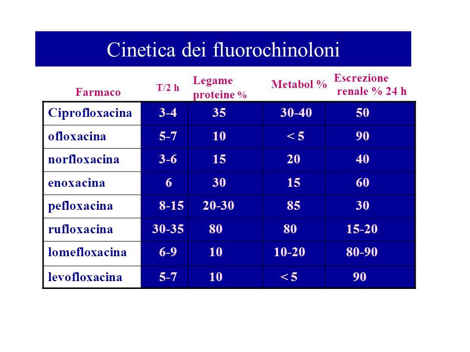 Cinetica dei fluorochinoloni Farmaco T/2 h Legame proteine % Metabol % Escrezione renale % 24 h Ciprofloxacina 3-4 35 30-40 50 ofloxacina 5-7 10 < 5 9