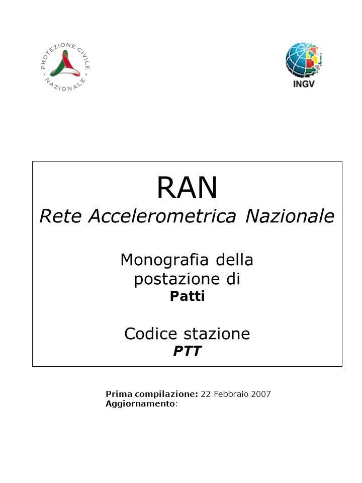 RAN Rete Accelerometrica Nazionale Monografia della postazione di Patti Codice stazione PTT Prima compilazione: 22 Febbraio 2007 Aggiornamento: