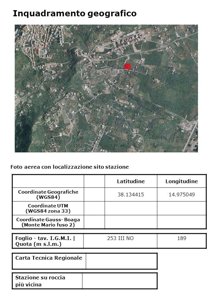 Foto aerea con localizzazione sito stazione Foglio - tav. I.G.M.I. | Quota (m s.l.m.) 253 III NO189 Inquadramento geografico LatitudineLongitudine Coo