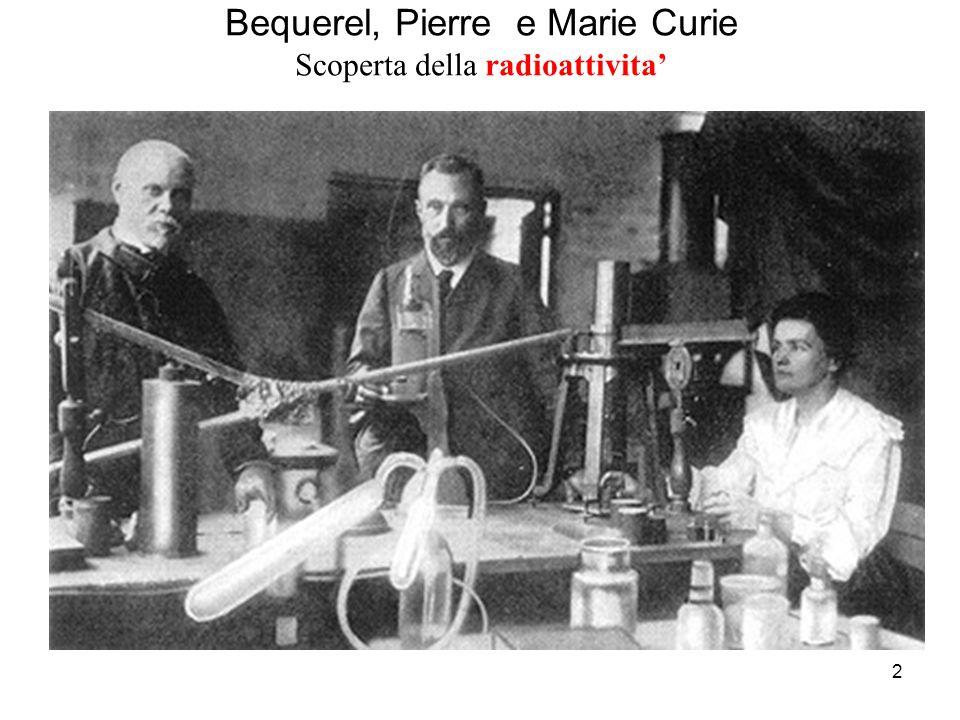2 Bequerel, Pierre e Marie Curie Scoperta della radioattivita'