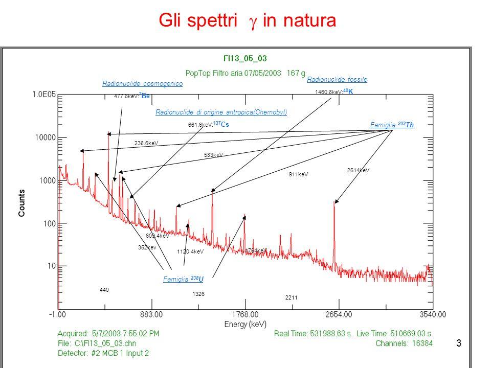 3 477.6keV: 7 Be 661.6keV: 137 Cs 1460.8keV: 40 K Radionuclide cosmogenico Radionuclide di origine antropica(Chernobyl) Radionuclide fossile Famiglia