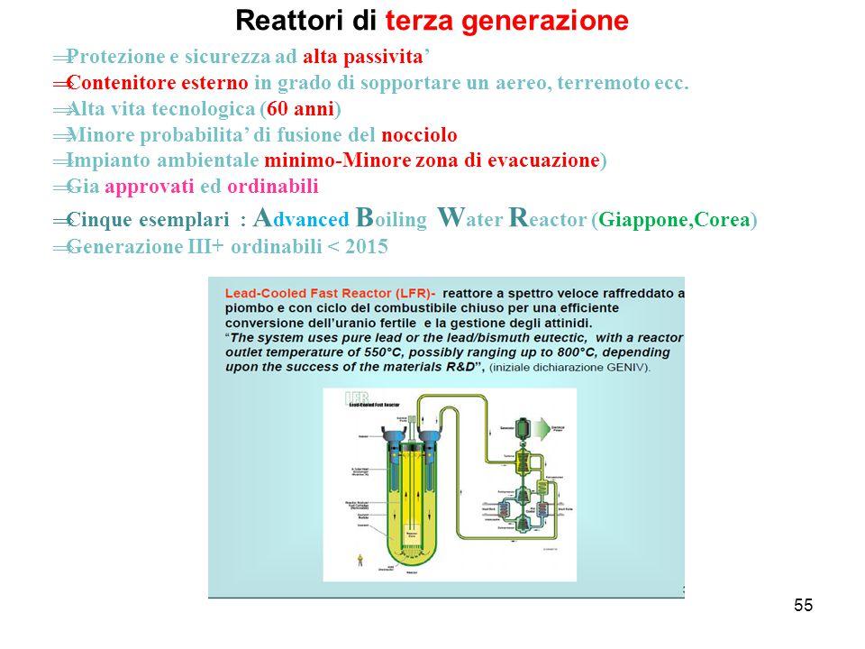 55 Reattori di terza generazione  Protezione e sicurezza ad alta passivita'  Contenitore esterno in grado di sopportare un aereo, terremoto ecc.  A