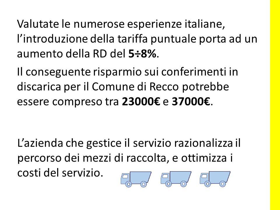 Valutate le numerose esperienze italiane, l'introduzione della tariffa puntuale porta ad un aumento della RD del 5÷8%.