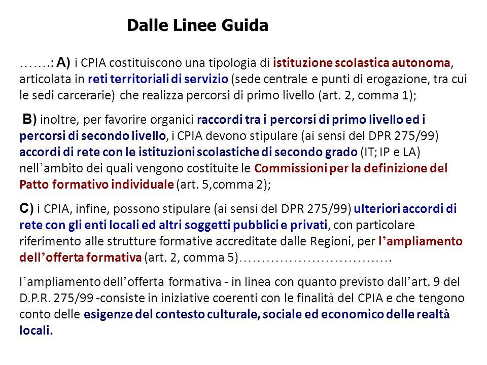 …….: A) i CPIA costituiscono una tipologia di istituzione scolastica autonoma, articolata in reti territoriali di servizio (sede centrale e punti di e