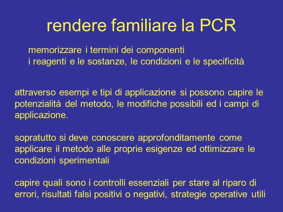 rendere familiare la PCR memorizzare i termini dei componenti i reagenti e le sostanze, le condizioni e le specificità attraverso esempi e tipi di applicazione si possono capire le potenzialità del metodo, le modifiche possibili ed i campi di applicazione.