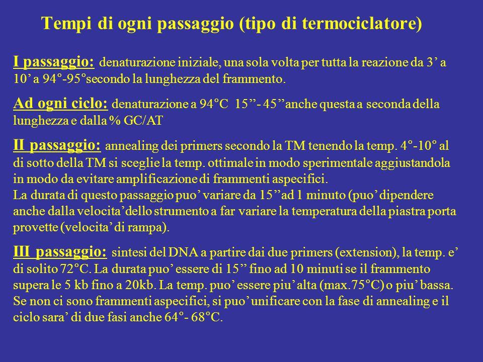 esrcizio di scelta dei primers:trova l'errore 1 CACCCTGCCC CATCTCCCCA GCCTGGCCCC TCGTGTCTCA GAACCCTCGG GGGGAGGCAC 61 AGAAGCCTTC GGGGAGGGCG GGAAGTGGCT CTGAGGAGCA CCTGGGGGGC CTGCTTTCCC 121 CCCAGACCCT TACCACACGG CGCCCTCGTC GTGCACCACC TCTCCAGGAG CCAGCACGGT 181 GCCGTGAGCG TAGCAGGGGC ACTCCTGGGC GGGCACACAG GCGCCCGCGT CATTGAGGAA 241 GGTGCCCGCG GGGCAGGTGC AGCCGTCCAC AGGCACGAAG GAAACGCTGC AGGTGACGTC 301 GGCCTCACTC AGGCCGCGGC AAGTGGGCTG GCAGGCATCC ACCACGTAGG CGTAGCGCTG 361 GGACTTGGGG CAGTTCTGCA TGTACTTGGC TGTGGTCGGT GGGGCCAGGG GGGACAGGTC 421 AGCGGCCGAG CAGCCTGGCC AGCCCCCATC TTCAACTCAG CATCCCCGTC TGTGACGTGG 481 GGATCGCAAG GGCATGAGGT TCTTGCGAGG CTGGGATGAG GAAGTGCAAA GCTCTGGGCT 541 GAGAACCGTG TGAGTGACGG CTGCTGCCGG CCAGGGTCCC CCGCACCCCC ACGCGGTGTG 601 GACACATCCC ACCCCCAGCG TGGGCACTCA CTGCAGACGC CGTCCCTCCA GTCGCTGAGC 661 TGTACGCCCT TGGCGGCACA GGCGTGCACA TAGGAGGACA GCGCGGCGCA CAGGCAGTCC 721 TCGCTCCGCT CACAGTTGCA GGTGTCAAAC ATGCAGTTCT GCGGAGGTGG GAGGCATCGG 781 GGCGTCAGGG ACCCCAGCCT GCCAGGGCTC CCCCACCCAT CCTGCCCAGG CGTGGGGGTC 841 TGGCCTCAGC CTCTCACCGA GTGGAAGGGC TTGGGGTTGA TGATGGAGTG GCAGCGCGAG 901 AAGGCACTGT TGGGATCGGT CAGGCGCGAG CACCAGTGCC GGGCGTAGTT CTCTGTGGGG 961 AAGACCTGAC CTCATCTCCA CGCCCTGCCC CGAAGCCCAC ACCCCTGACA CGCAGGCCTG 1021 CGACCCCCTC AGCCCGGGGA ACAGTGAGTT GGAATTTGCG GCTCACCTGC TGCGCCTTGG I coppia 12 G/C 5 A/T = 48+10 °C= 58°C 14 G/C 4 A/T = 52+8 °C = 60°C amplicone da n.62 a 876 = 814 bp II coppia 10 G/C 10 A/T = 40+20 = 60°C 12 G/C 6 A/T = 48+12 = 60°C amplicone da n.214 a 446 = 431 bp l'amplicone contiene dal 1° nucleotide del primer frw all'ultimo della sequenza scelta che deve comprendere anche il primer rev.