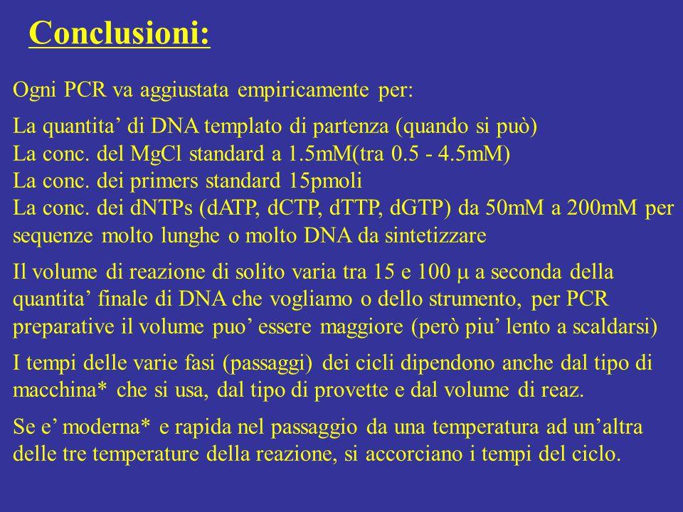 Ogni PCR va aggiustata empiricamente per: La quantita' di DNA templato di partenza (quando si può) La conc. del MgCl standard a 1.5mM(tra 0.5 - 4.5mM)