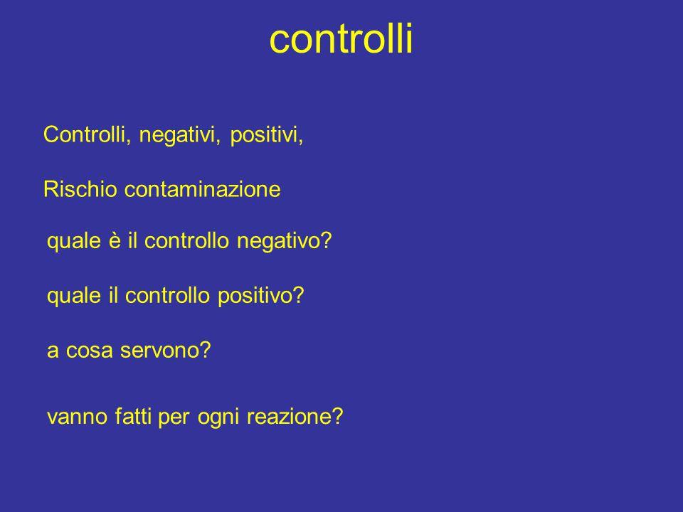 controlli Controlli, negativi, positivi, Rischio contaminazione quale è il controllo negativo? quale il controllo positivo? a cosa servono? vanno fatt