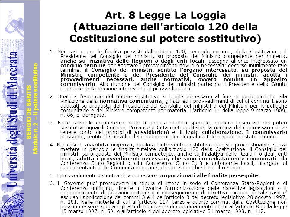 Università degli Studi di Perugia Modulo n. 2 – il potere sostitutivo SERGIO DE SANTIS Art.