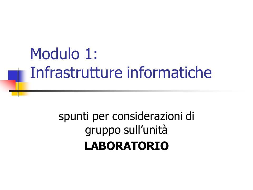 Modulo 1: Infrastrutture informatiche spunti per considerazioni di gruppo sull'unità LABORATORIO