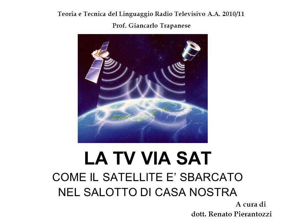LA TV VIA SAT COME IL SATELLITE E' SBARCATO NEL SALOTTO DI CASA NOSTRA A cura di dott. Renato Pierantozzi Teoria e Tecnica del Linguaggio Radio Televi