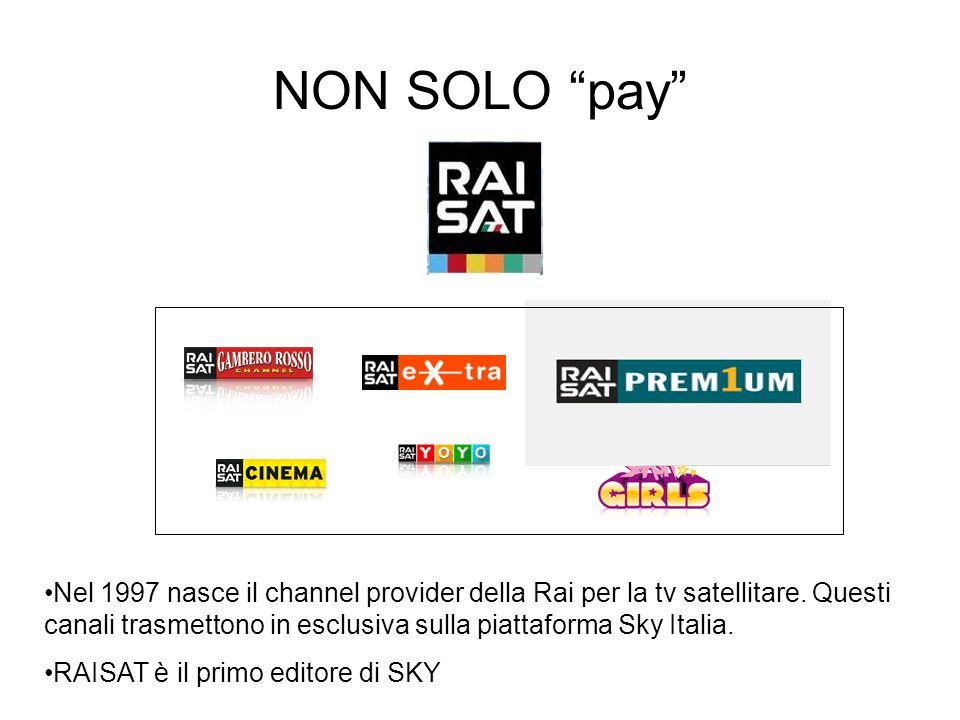 """NON SOLO """"pay"""" Nel 1997 nasce il channel provider della Rai per la tv satellitare. Questi canali trasmettono in esclusiva sulla piattaforma Sky Italia"""