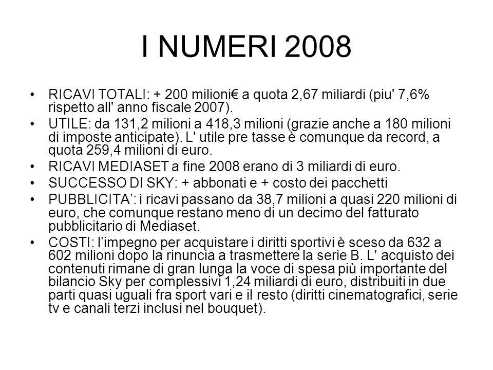 I NUMERI 2008 RICAVI TOTALI: + 200 milioni€ a quota 2,67 miliardi (piu' 7,6% rispetto all' anno fiscale 2007). UTILE: da 131,2 milioni a 418,3 milioni