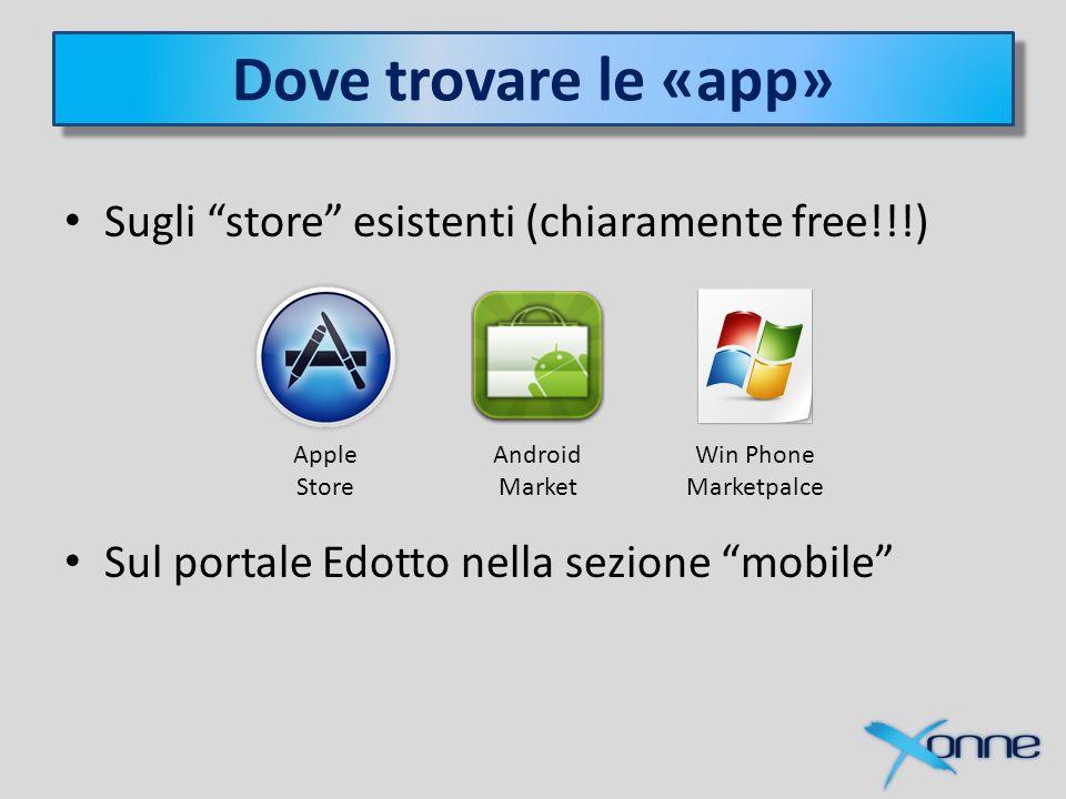 Dove trovare le «app» Sugli store esistenti (chiaramente free!!!) Sul portale Edotto nella sezione mobile Apple Store Win Phone Marketpalce Android Market