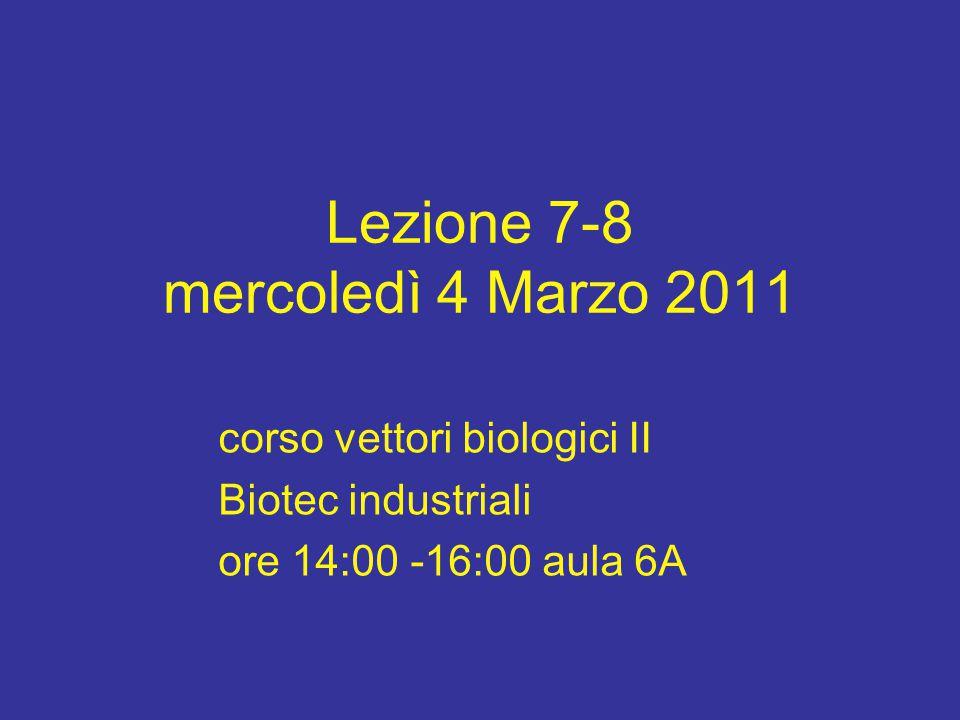 Lezione 7-8 mercoledì 4 Marzo 2011 corso vettori biologici II Biotec industriali ore 14:00 -16:00 aula 6A
