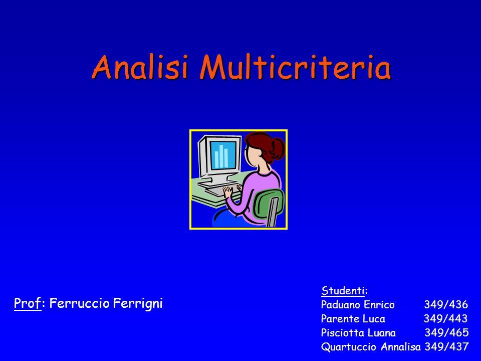 Analisi Multicriteria Prof: Ferruccio Ferrigni Studenti: Paduano Enrico 349/436 Parente Luca 349/443 Pisciotta Luana 349/465 Quartuccio Annalisa 349/437