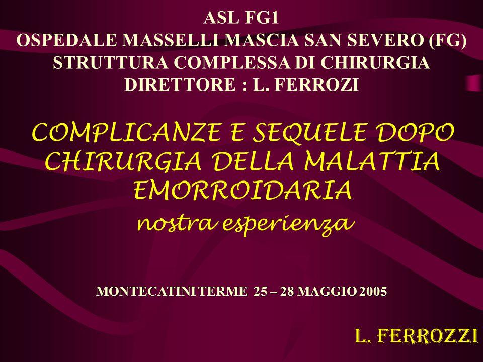 ASL FG1 OSPEDALE MASSELLI MASCIA SAN SEVERO (FG) STRUTTURA COMPLESSA DI CHIRURGIA DIRETTORE : L. FERROZI COMPLICANZE E SEQUELE DOPO CHIRURGIA DELLA MA