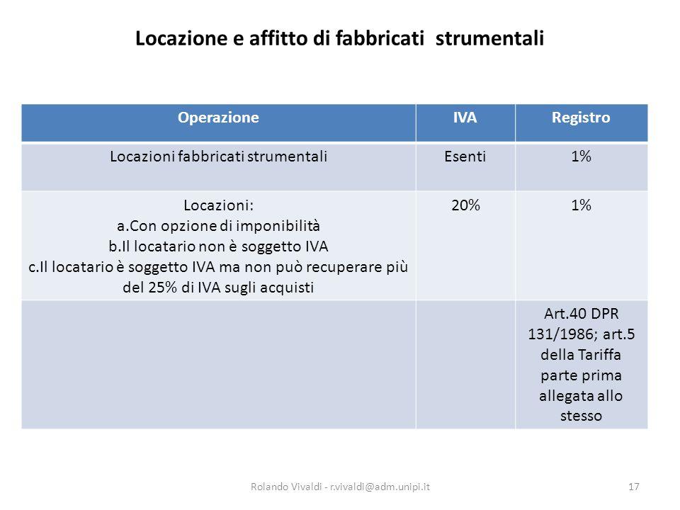 Locazione e affitto di fabbricati strumentali OperazioneIVARegistro Locazioni fabbricati strumentaliEsenti1% Locazioni: a.Con opzione di imponibilità