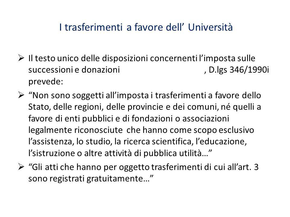 I trasferimenti a favore dell' Università  Il testo unico delle disposizioni concernenti l'imposta sulle successioni e donazioni, D.lgs 346/1990i pre