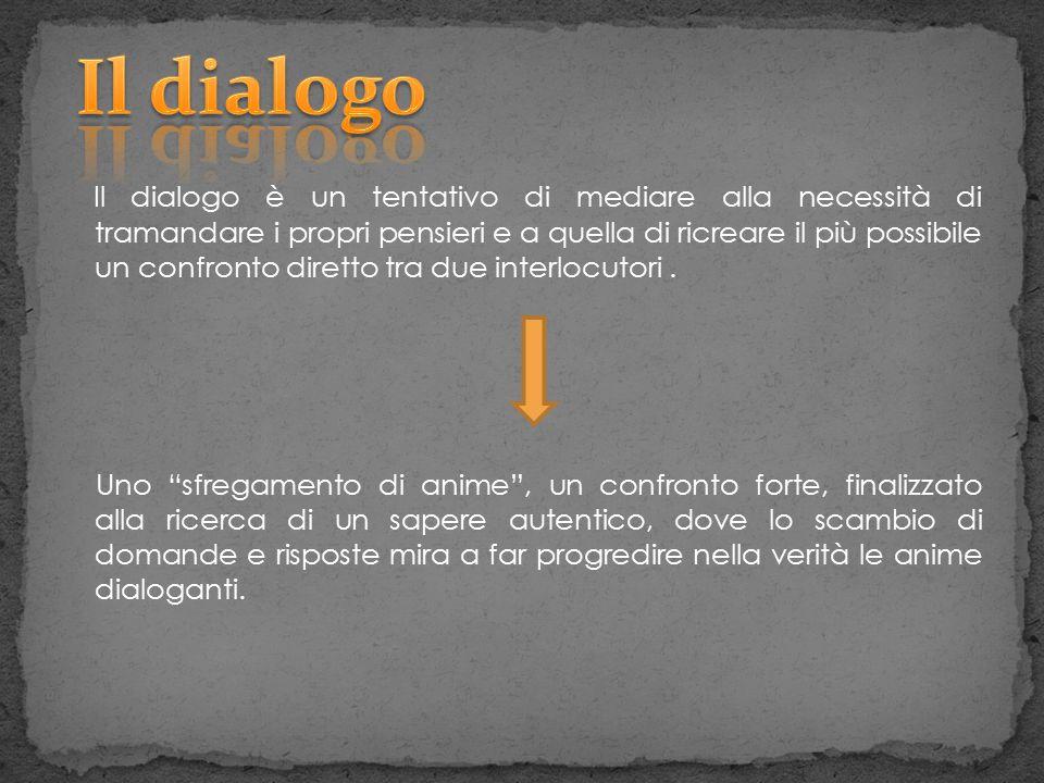 Il dialogo è un tentativo di mediare alla necessità di tramandare i propri pensieri e a quella di ricreare il più possibile un confronto diretto tra d