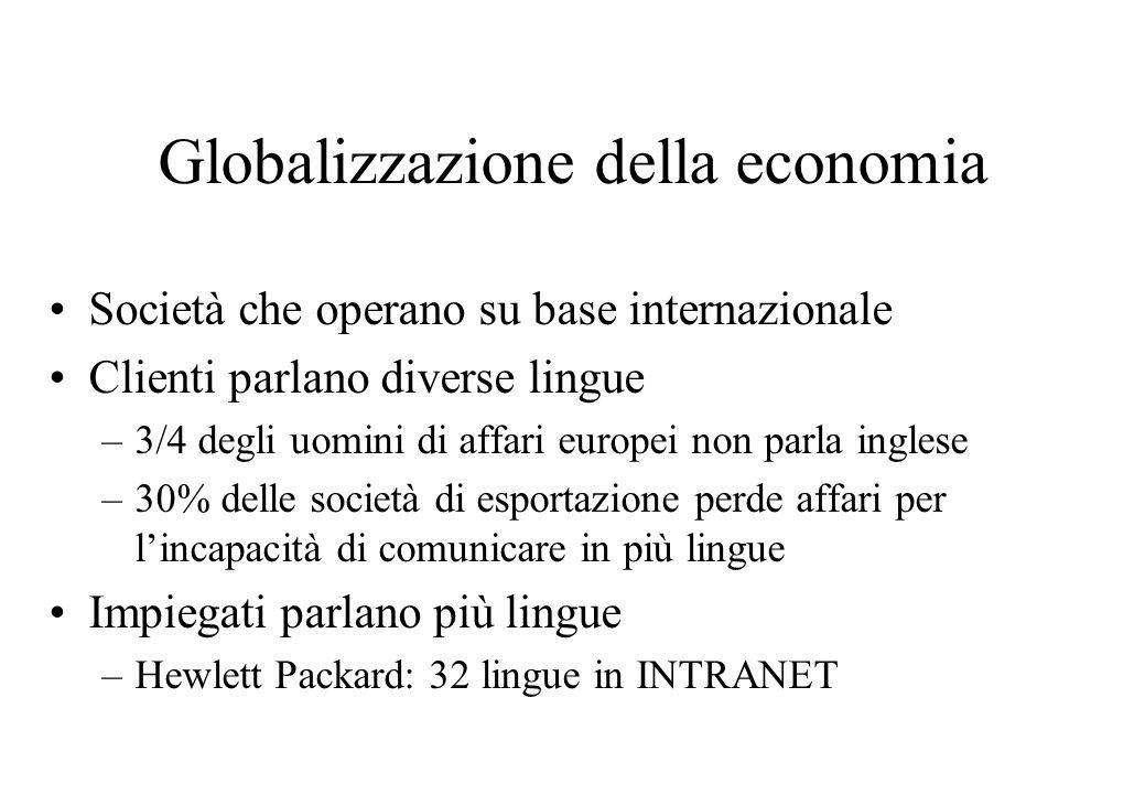 Globalizzazione della economia Società che operano su base internazionale Clienti parlano diverse lingue –3/4 degli uomini di affari europei non parla