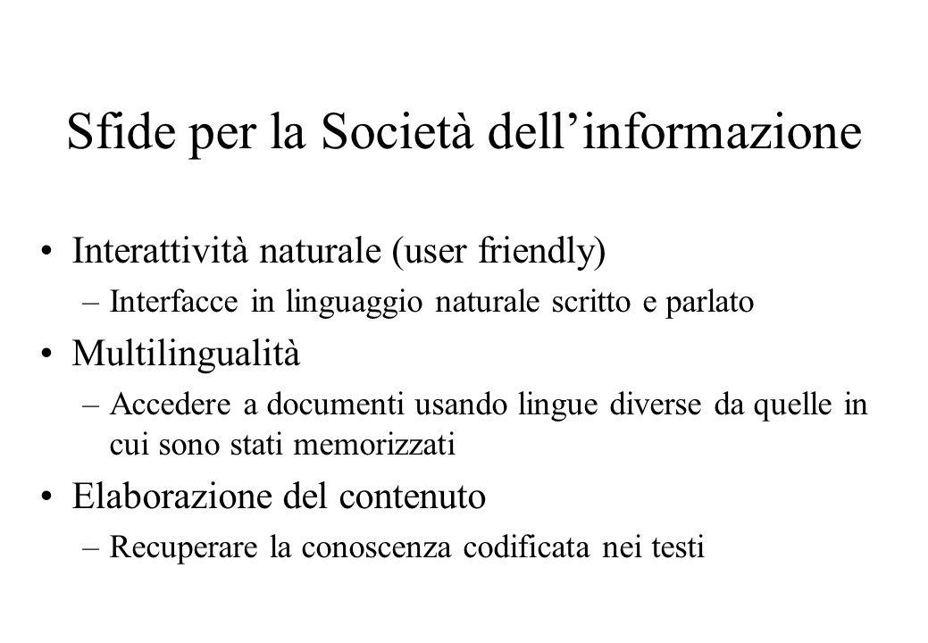 Sfide per la Società dell'informazione Interattività naturale (user friendly) –Interfacce in linguaggio naturale scritto e parlato Multilingualità –Ac