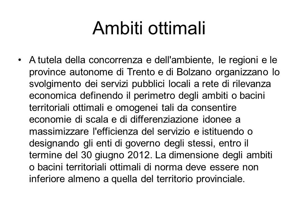 Ambiti ottimali A tutela della concorrenza e dell'ambiente, le regioni e le province autonome di Trento e di Bolzano organizzano lo svolgimento dei se