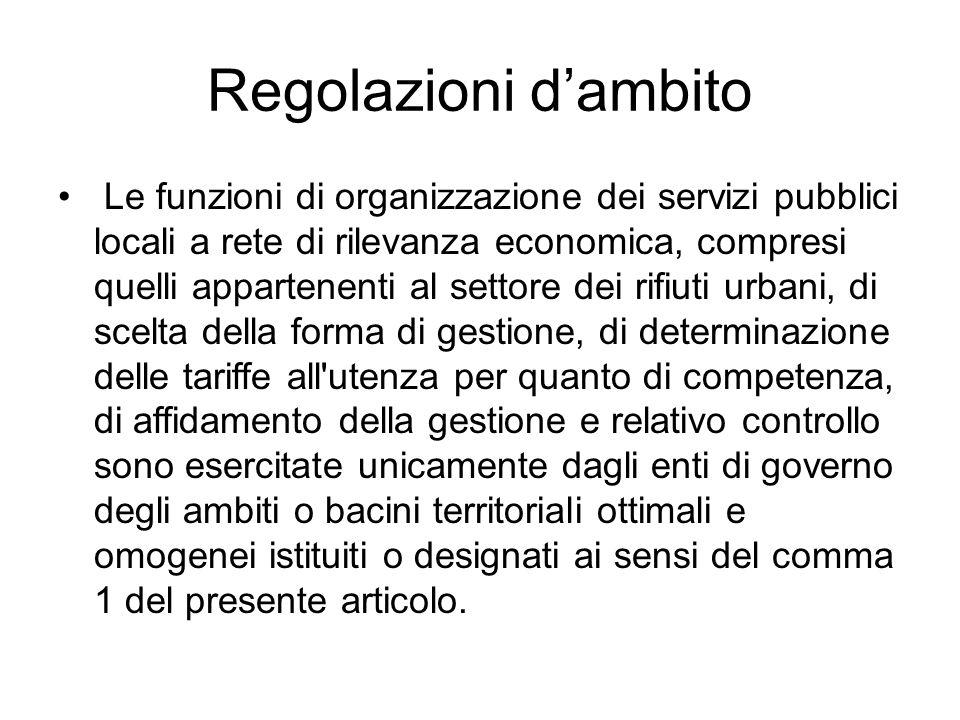 Regolazioni d'ambito Le funzioni di organizzazione dei servizi pubblici locali a rete di rilevanza economica, compresi quelli appartenenti al settore