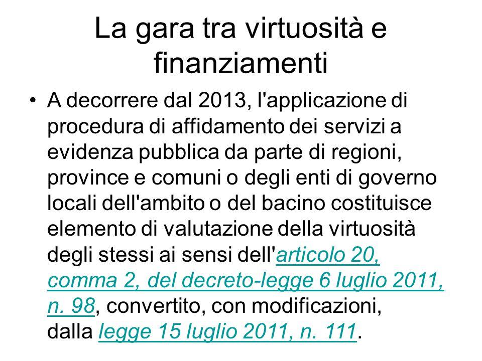 La gara tra virtuosità e finanziamenti A decorrere dal 2013, l'applicazione di procedura di affidamento dei servizi a evidenza pubblica da parte di re