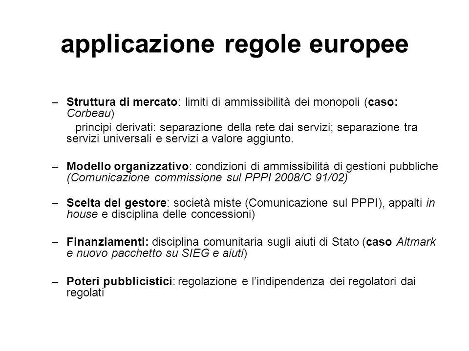 applicazione regole europee –Struttura di mercato: limiti di ammissibilità dei monopoli (caso: Corbeau) principi derivati: separazione della rete dai