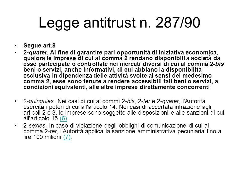 Legge antitrust n. 287/90 Segue art.8 2-quater. Al fine di garantire pari opportunità di iniziativa economica, qualora le imprese di cui al comma 2 re