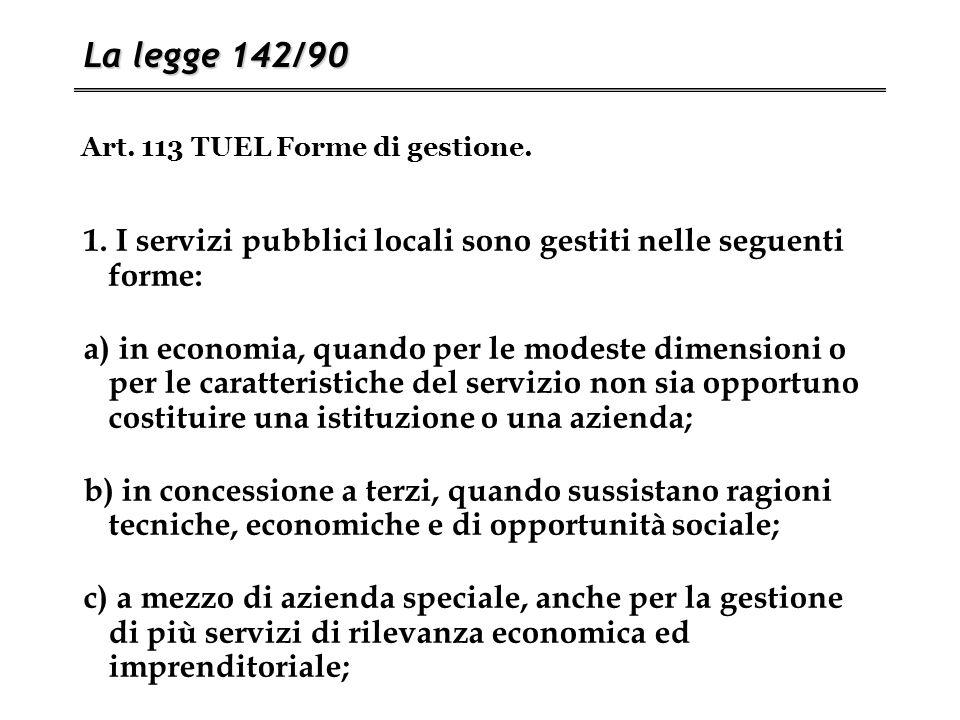 Art. 113 TUEL Forme di gestione. La legge 142/90 1. I servizi pubblici locali sono gestiti nelle seguenti forme: a) in economia, quando per le modeste