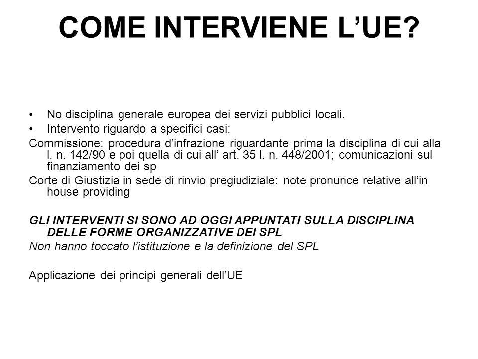 COME INTERVIENE L'UE? No disciplina generale europea dei servizi pubblici locali. Intervento riguardo a specifici casi: Commissione: procedura d'infra