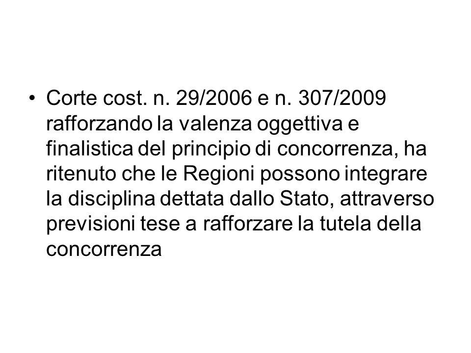 Corte cost. n. 29/2006 e n. 307/2009 rafforzando la valenza oggettiva e finalistica del principio di concorrenza, ha ritenuto che le Regioni possono i